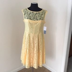NWT! London Times Size 10 Yellow Lace Dress
